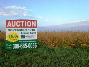 Picture of sale sign on Leman Farm