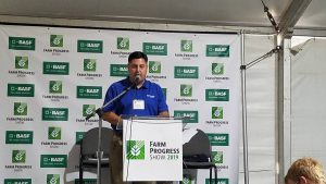 Picture of Dave Klein speaking at the Farm Progress Show